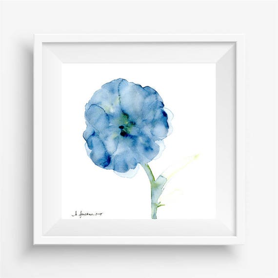 "Original watercolor flower painting: ""Blooming in Indigo"""