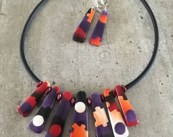 Polymer clay necklace - puzzle collection