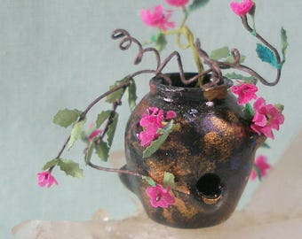 Large Dollhouse Miniature Raku Style Strawberry Pot with Fuchsia Colored Flowers and Vine  in 1:12 Dollhouse Scale