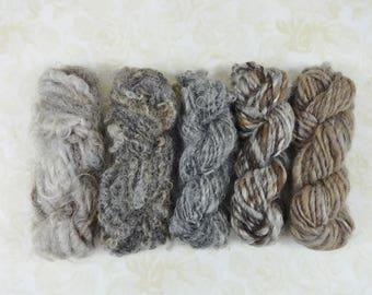 Handspun Yarn Rustic Textures Pack Mini Skein Collection 70 yards natural gray brown tan