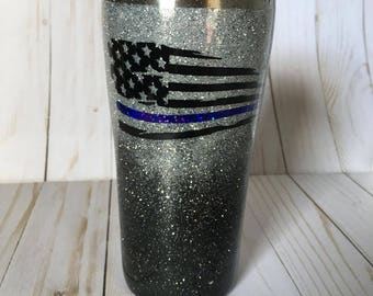 Black and Silver Glitter Ombre - Back The Blue - Christmas Gift- Ombre Tumbler