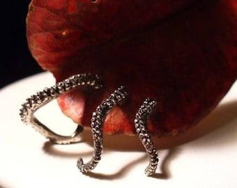 SALE Trio - Octopus Earrings, Tentacle Earring, OctopusME, Earring, Octopus Ring, Spectre, James Bond, Cthulhu, Tentacle
