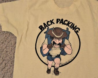 "Vintage Back Packing T Shirt, Extra Small Chest 30"" -32"",Worn,Signed '76 Mustash Man Hiking,Nature tee,Cross Country,Nebraska Kids, USA"