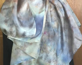 Elderberry, mulberry and goldenrod naturally dyed silk scarf, 100% natural. One of a kind