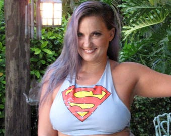 light blue classic vintage looking Superman sheild logo shredded t shirt halter top one size fits most