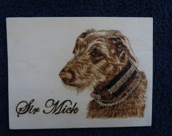 "Pet Potrait Wood Burn 3-D Shadow Box Made to Order 7.5"" x 5.75"" x 2"" Irish Wolfhounds by Shannon Ivins"