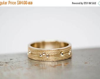 ON SALE Size 7 Womens Textured Bronze Ring Band   Ready to Ship
