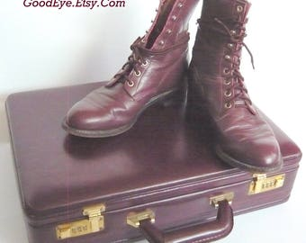 Mens size 9 D JUSTIN Hightop Ankle Boots / All Leather Oxfords Marroon Lace up / Womens sz 10 .5 Eu 43 UK 8