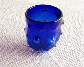 Vintage Artisan Glass Cobalt Blue Bumpy Lumpy Tumbler Glassware