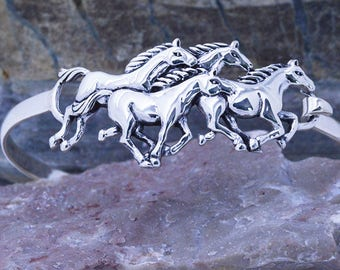 Sterling Silver 925 Galloping Horses cuff bracelet latches securely on wrist