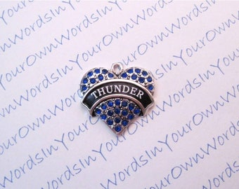CUSTOM, PERSONALIZED, Crystal, Heart, Pendant, Charm, Antique Silver, CUSTOMIZED, Pendant, in your choice of Colors, People, Names, Places