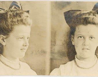 vintage photo 1906 Monticello New York Young Girl Big Hair bow Gem Miniature Mug Shot
