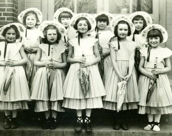 vintage photo 1930 Little girls Costume Bo Peep Umbrellas w Bonnets