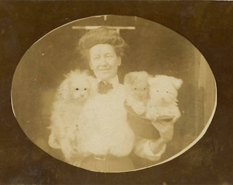 vintage photo 1914 Woman with Poodle Dog Puppies in Hat Altered Abstract eyes