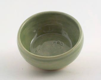 Ceramic Pet Dish - Stoneware Kitty or Puppy Feeding Bowl - Small Animal Water Bowl - Pottery - Ready to Ship -Celadon Spring Green v591