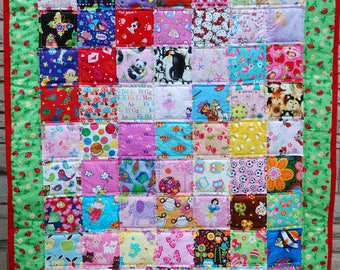 Girl I-Spy Crib Sized Quilt, Tummy Mat - Red and Black Ladybugs on Sparkling Green Border- Ready to Ship Free U.S. Shipping