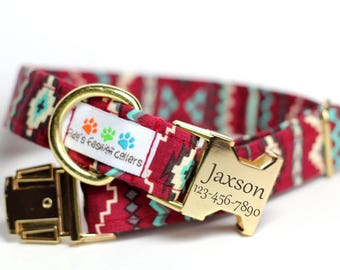 Personalized Aztec Dog Collar - Tribal, Navajo Dog Collar- Camelback(Shown with optional Engraving)