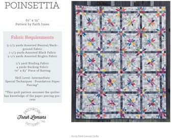 Modern Quilt Pattern - Poinsettia - PDF