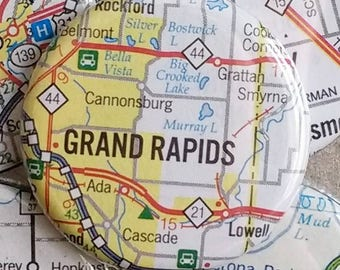 Grand Rapids Michigan map magnet