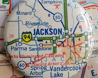 Jackson Michigan vintage map magnet