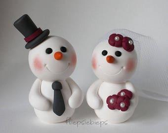 Custom Snowman Wedding Cake Topper