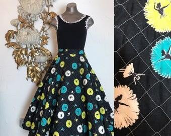 1950s skirt vintage skirt novelty print skirt size small quilted skirt 26 waist circle skirt ballerina print dancer print
