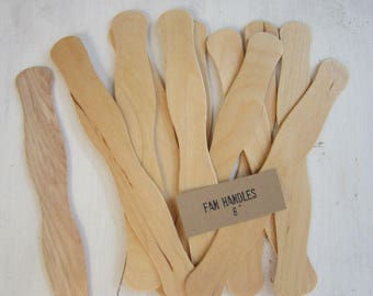 125 Wavy Wooden Fan Handles - Wedding Fan Stick - Wedding Ceremony Fan - Auction Fan Handle - Beach WeddingFan Handle, F01