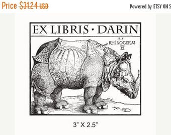 Super Summer Sale Personalized Rhinoceros Bookplate Ex Libris Rubber Stamp F15