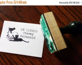 Xmas in July Cats Play on Books Personalized Ex Libris Bookplate Rubber Stamp N09