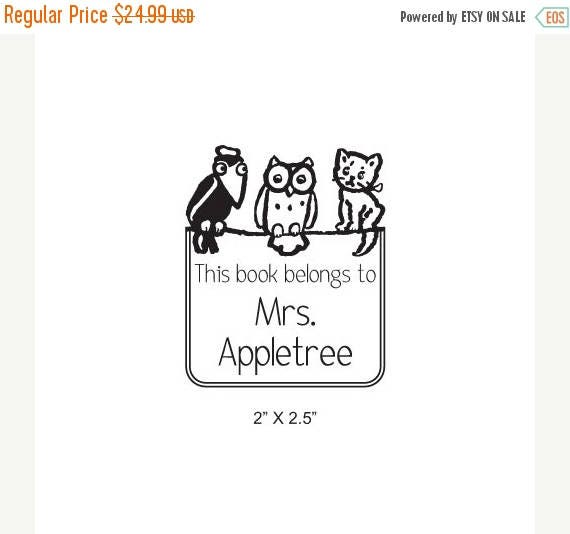 Super Summer Sale Crow Owl and Kitten Personalized Ex Libris Bookplate Rubber Stamp K27
