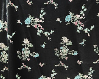 VINTAGE satin rayon floral fabric Chinese Asian qipao volup 40s dress fabric
