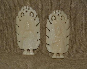 Vintage Standing BUDDHA pendant cow bone hand carved jewelry supply Bali Dvaravati Buddha flames