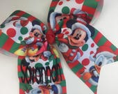 Disney Hair Bow, Any Name, Christmas Monogram, Custom Boutique, Personalized Gift, Minnie Trip, Mouse Bows, Embroidered Minnie, Girls Large