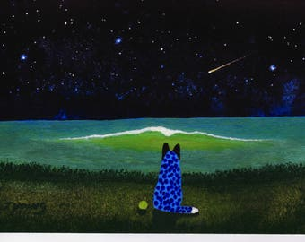 Australian Cattle Dog Blue Heeler original seascape art painting by Todd Young SUMMER NIGHT