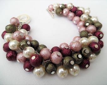 Pearl Bracelet, Winter Colours, Dusky Pink Ivory Olive Green and Wine, Cluster Bracelet, Chunky Bracelet, Gift For Her, Pink Pearl Bracelet