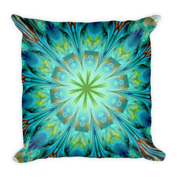 Mint Kaleidoscope Throw Decorative Designer Artist Created Pillow 18 inch Square with Zipper and Insert
