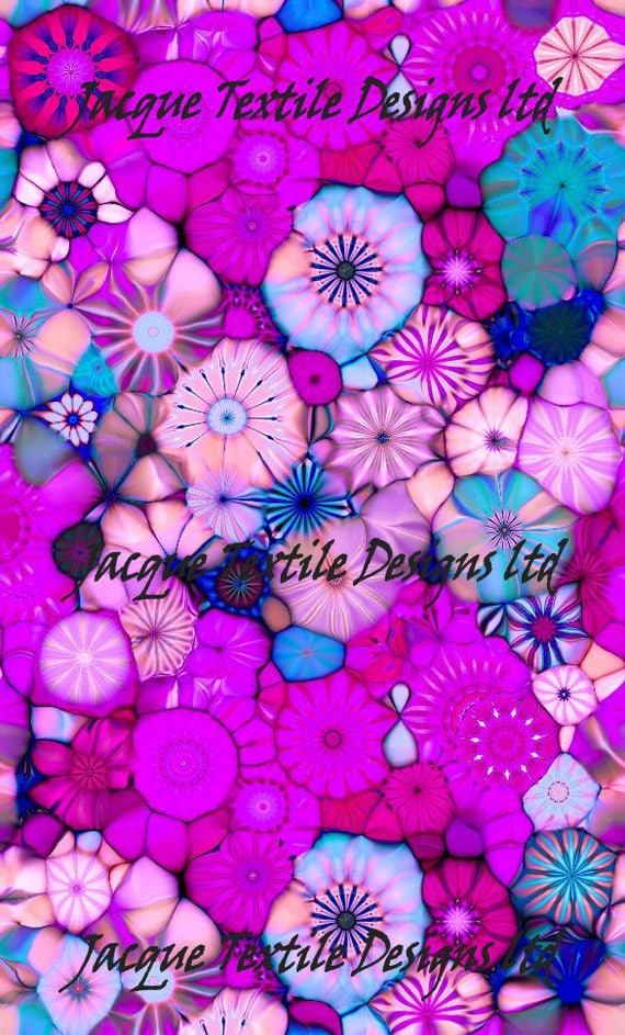 Purple Pink Flower Kaleidoscope Artisan Made Kona Cotton Quilting Textile Art Fabric Panel