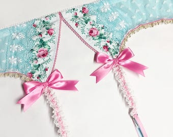 Light Turquoise with Pink Roses Garter Belt - Pick Your Size - LIMITED EDITION - Handmade Vegan Bridal