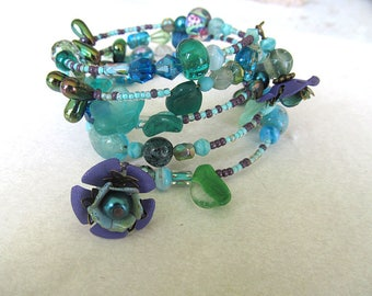 Memory Wire Bracelet, Teal Bracelet, Beaded Bracelet, Bohemian Wrap Bracelet, Turquoise Floral, Wrap Bracelet, One Size Fits all
