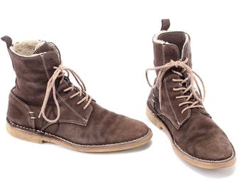 size men 8.5 Desert Boots 90s Men's Suede Chukka Boots Brown Leather Distressed Insulated Ankle Booties Lace Up Men Us 8.5 , Eur 41 , UK 7.5