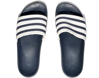 80s ADIDAS Slide Soccer Sandals Sport Slides Navy Blue White Three Stripe Slip On MULES Summer Beach Shoes Us Men 9, Uk 8.5, Eur 43