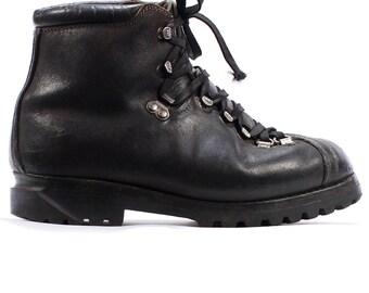 Size 7.5 Swiss Army Combat Boots 80s Military Mountain Mountaineering Men Raichle Swiss Alpine Heavy Black LeatherUS men 7.5, Eur 40, Uk 7