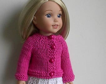 14.5 Inch Doll Clothes Knit Sweater with Long Sleeves Handmade to fit the Wellie Wishers and other similar dolls - Bright Pink