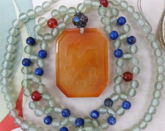 Vintage Chinese Carnelian Jade Bead Necklace