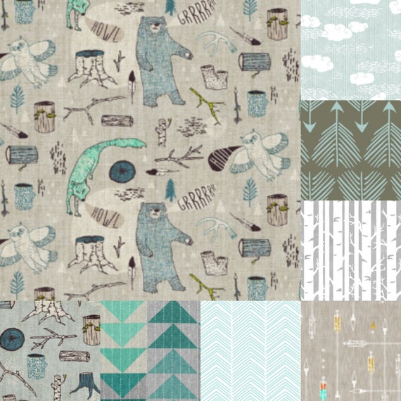 Personalized Baby Quilt With Name and Date Hand Embroidered ~Nursery Decor ~ Woodland Creatures ~ Bears Arrows Trees Fox Owl ~ Gray Teal Tan