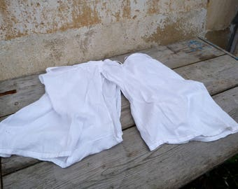Vintage 1900 Victorian French bloomers open crotch white cotton pantalons size  XL