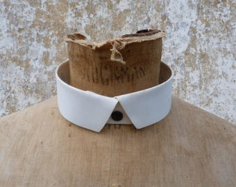 Vintage Antique 1900s old French Tuxedo collar / hard collar /pointed /col cassé