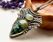 Welo Opal Pendant Necklace, Silver Opal Jewelry, Azurite Necklace, Botanical Silver Necklace, Topaz Pendant, Unique Handmade Jewelry