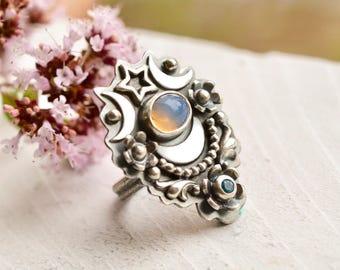 Stargazer Ring, Ethiopian Opal Ring, Blue Topaz Ring, Silver Ring, Silver Moon Ring, Unique Handmade Gemstone Ring, Botanical Silver Ring