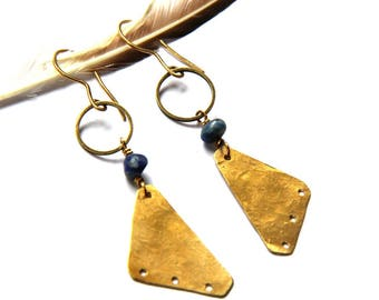 Brass Triangle and Lapis Earrings (E1269)